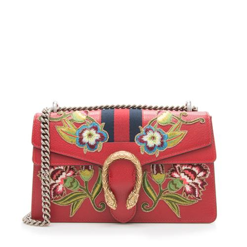 Gucci Leather Floral Web Dionysus Small Shoulder Bag