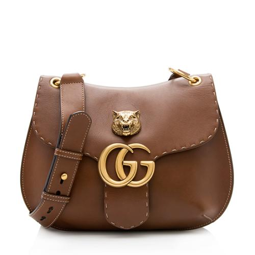 Gucci Leather GG Marmont Animalier Tiger Shoulder Bag