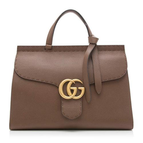 Gucci Leather GG Marmont Medium Top Handle Bag