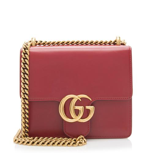 Gucci Leather GG Marmont Small Chain Bag
