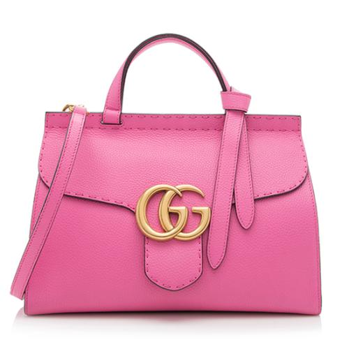 Gucci Leather GG Marmont Small Top Handle Bag