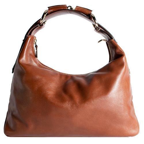 Gucci Leather Horsebit Medium Hobo Handbag