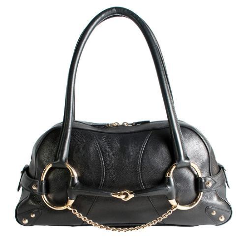 Gucci Leather Horsebit Satchel Handbag
