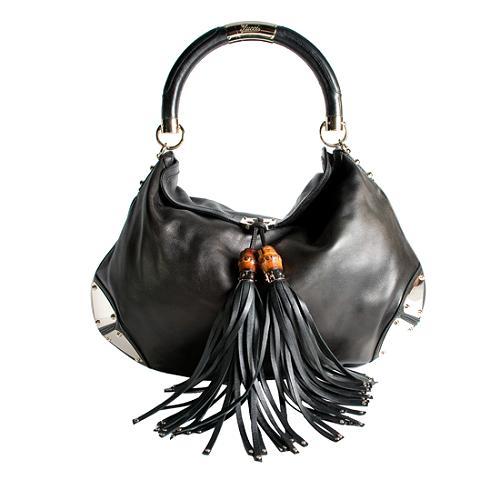 Gucci Leather Indy Large Top Handle Satchel Handbag