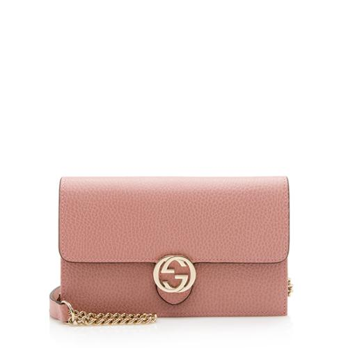 Gucci Grained Calfskin Interlocking G Chain Wallet