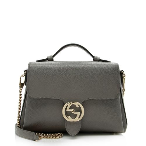 Gucci Leather Interlocking G Top Handle Shoulder Bag