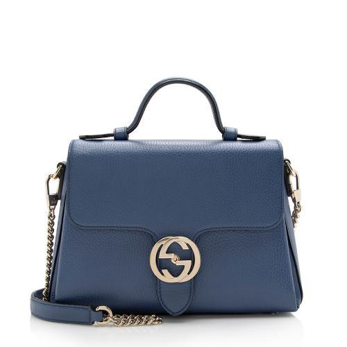 Gucci Leather Interlocking G Top Handle Shoulder Bag