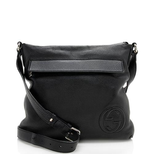 Gucci Leather Interlocking GG Messenger Bag