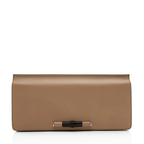 Gucci Leather Lady Large Bamboo Clutch