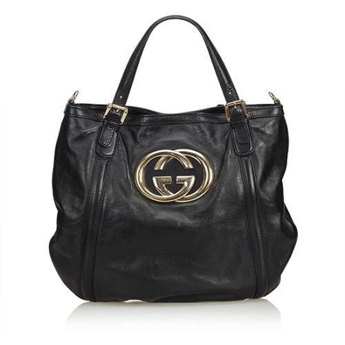Gucci Leather Britt Convertible Tote