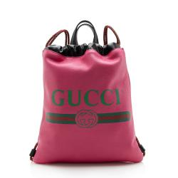 Gucci Leather Logo Drawstring Backpack