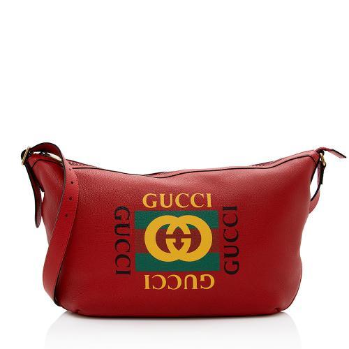 Gucci Leather Logo Half Moon Messenger Bag