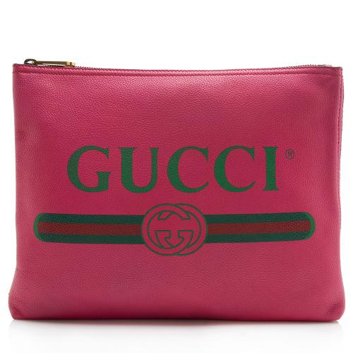Gucci Leather Logo Zip Pouch