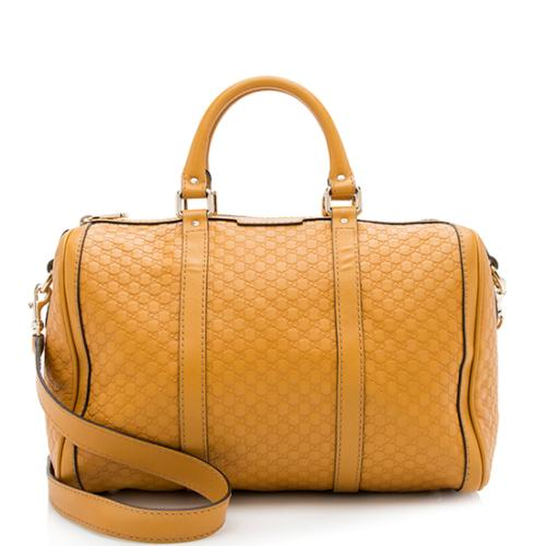 Gucci Leather Microguccissima Medium Boston Bag