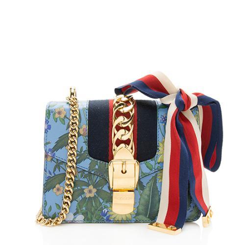 Gucci Leather New Flora Sylvie Mini Chain Bag