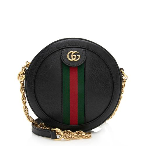 Gucci Leather Ophidia Mini Round Shoulder Bag