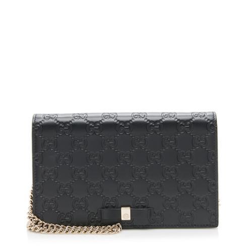 Gucci Guccissima Leather Signature Bow Mini Wallet On Chain Bag