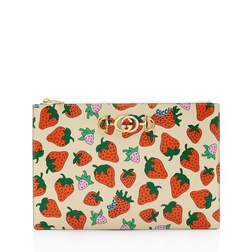 Gucci Printed Leather Strawberry Zumi Pouch