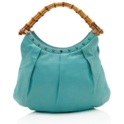 Gucci Leather Studded Bamboo Top Handle Hobo