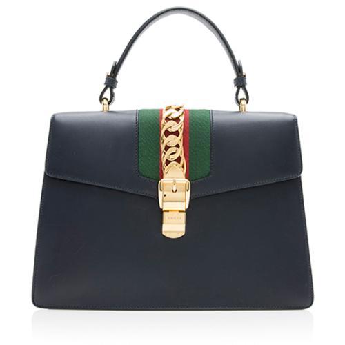 Gucci Leather Sylvie Medium Top Handle Bag