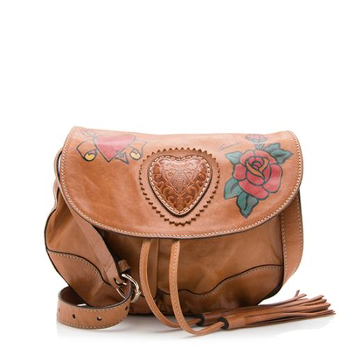 Gucci Leather Tattoo Heart Tribeca Shoulder Bag