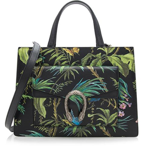 Gucci Leather Tropical Dionysus Medium Tote
