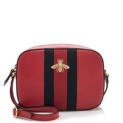 Gucci Leather Web Bee Shoulder Bag