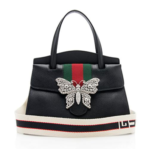 Gucci Leather Web Crystal Butterfly Linea Totem Top Handle Bag