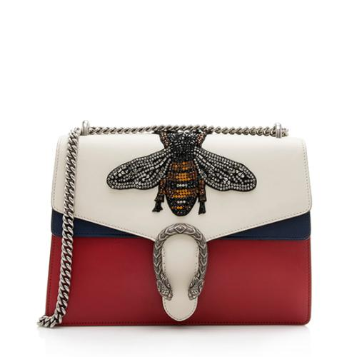 Gucci Leather Web Dionysus Bee Applique Large Shoulder Bag