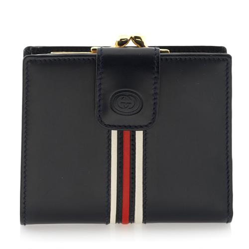 Gucci Leather Web Kisslock Wallet