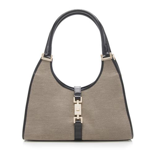 Gucci Linen Bardot Shoulder Bag