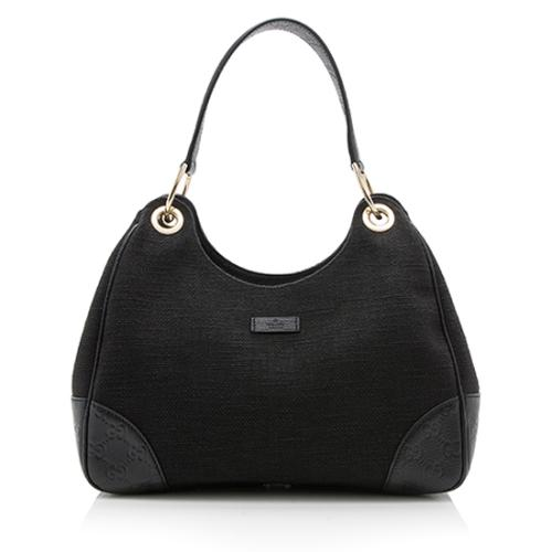 Gucci Linen Guccissima Leather Colbert Hobo
