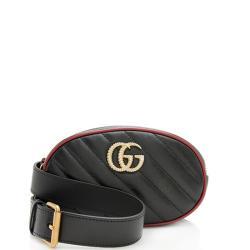 Gucci Matelasse Leather GG Marmont Belt Bag - Size 95