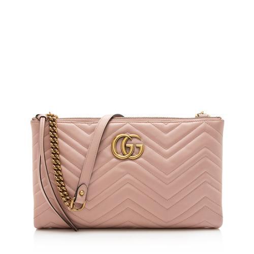 Gucci Matelasse GG Marmont Double-Zip Chain Shoulder Bag