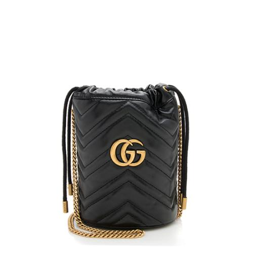 Gucci Matelasse Leather GG Marmont Mini 2.0 Bucket Bag