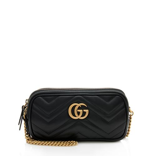 Gucci Matelasse Leather GG Marmont Triple-Zip Mini Bag