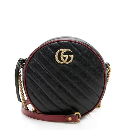 Gucci Matelasse Leather GG Marmont Round Mini Shoulder Bag