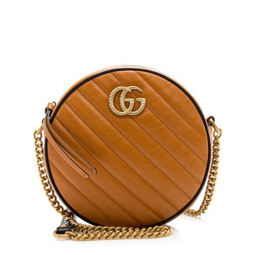 Gucci Matelasse Leather Torchon GG Marmont Round Mini Shoulder Bag