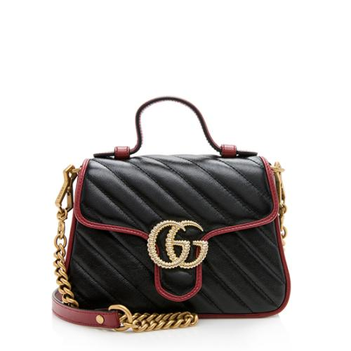 Gucci Matelasse Leather GG Marmont Mini Top Handle Bag