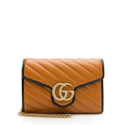 Gucci Matelasse Leather GG Marmont Torchon Chain Wallet
