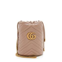 Gucci Matelasse Leather GG Marmont 2.0 Mini Bucket Bag