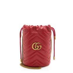 Gucci Matelasse Leather GG Marmont 2.0 Mini Bucket Bag