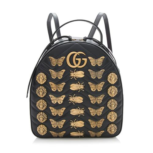 Gucci -Matelasse-Leather-GG-Marmont-Animal-Studs-Backpack 93369 front large 1.jpg