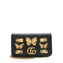 Gucci Matelasse Leather GG Marmont Animal Studs Mini Bag
