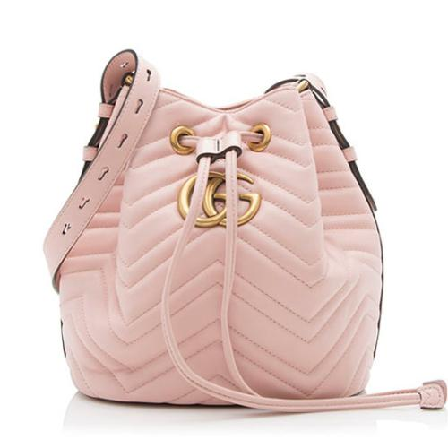 Gucci Matelasse Leather GG Marmont Bucket Bag