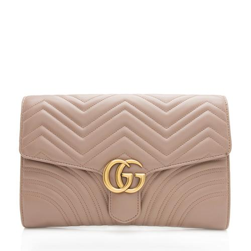 Gucci Matelasse Leather GG Marmont Clutch