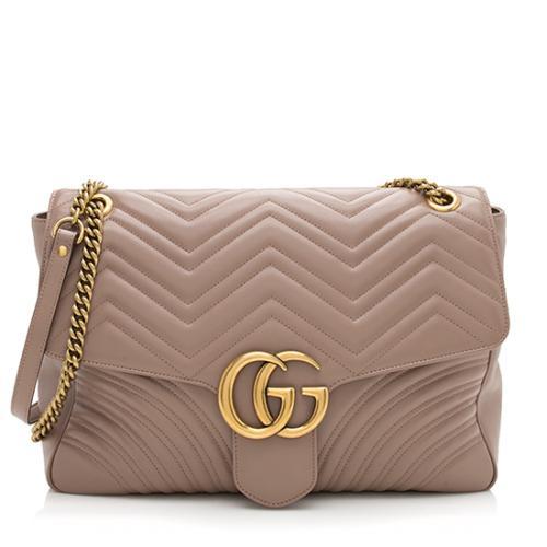 Gucci Matelasse Leather GG Marmont Large Shoulder Bag