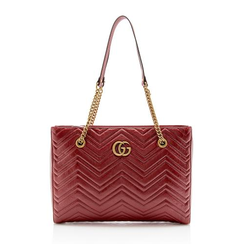Gucci Matelasse Leather GG Marmont Medium Chain Tote