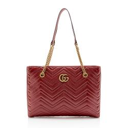 Gucci Matelasse Leather GG Marmont Medium Chain Tote