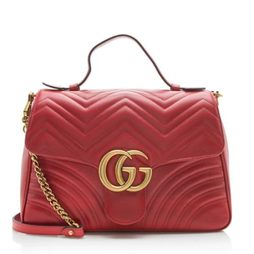 Gucci Matelasse Leather GG Marmont Medium Top Handle Bag